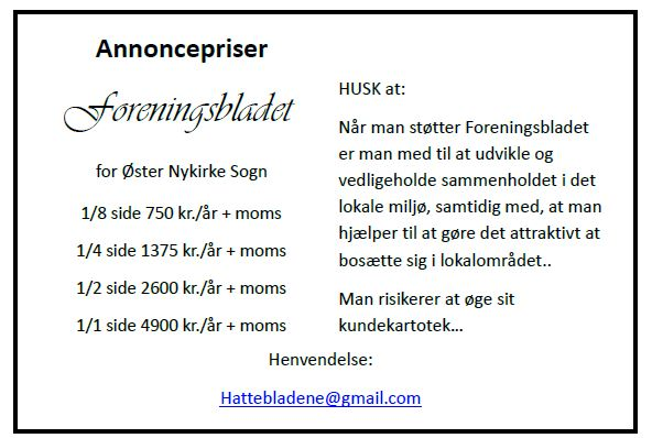 Annoncepriser foreningsbladet